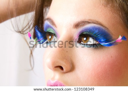 Beautiful Female Wearing Exotic Looking Eyelashes