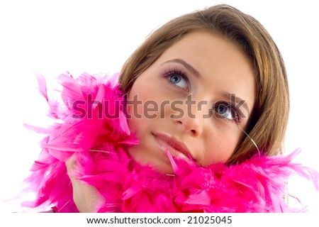 beautiful female wearing feather stole on an isolated background - stock photo