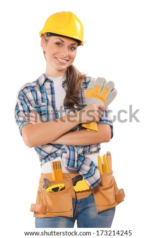 beautiful female wearing working clothes - stock photo