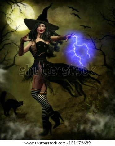 Beautiful female witch wearing a black tattered corset and skirt casting a spell with purple lightning bolts with mist and a moonlit background and black cat.