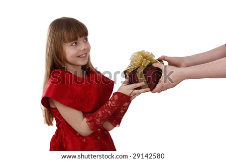Beautiful female with present. Little girl gets gift.Attractive lady holding purple box with gold ribbon.Attractive girl is surprising at present.Isolated over white background.Schoolgirl feels shy. - stock photo