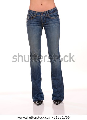 beautiful female woman wearing jean - stock photo