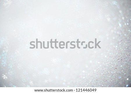 Beautiful festive abstract background with many snowflakes - stock photo