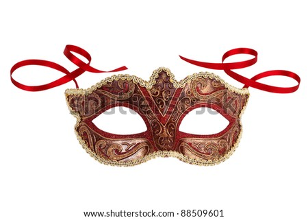 Beautiful festive carnival mask with ribbons on white background - stock photo