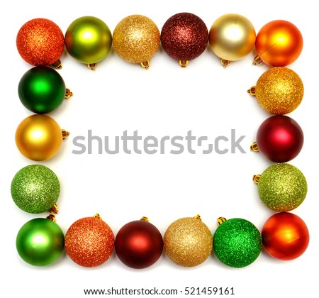 Beautiful festive Christmas wreath of balls isolated on white background. Flat lay, top view.