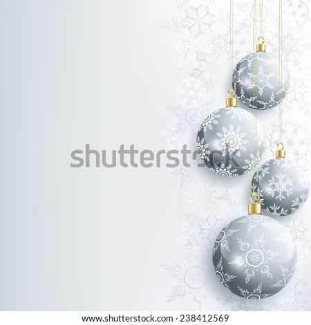 Beautiful festive New Year and Christmas card gray with christmas ball and snowflake. Stylish New Year and Christmas background. Celebratory winter wallpaper. Raster illustration - stock photo