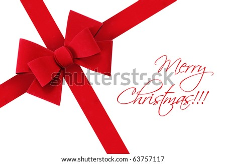 Beautiful, festive, red Christmas or Valentine ribbon on isolated white background