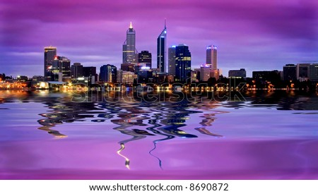 beautiful finance district with reflection - stock photo