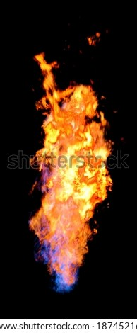 Beautiful fire flume isolated on black - stock photo