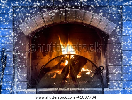 Beautiful fireplace in cold winter day - stock photo