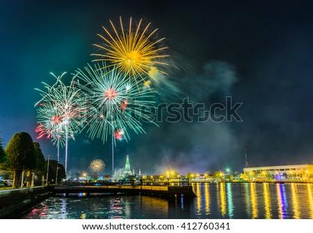 Beautiful firework display for celebration. - stock photo