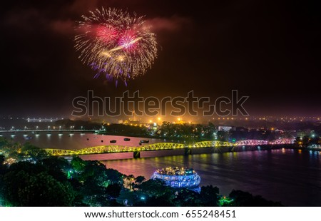 Beautiful Firework in Huong River, and Trang Tien Bridge is the most beautiful bridge in Hue in Vietnam Huong River and Trang Tien Bridge in Hue city, Vietnam Unesco World Heritage Site