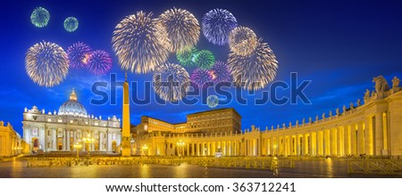 Beautiful fireworks above Saint Peter's Square, Piazza San Pietro and Saint Peter's Basilica at night in the Vatican City, Rome, Italy - stock photo