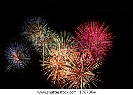 Beautiful fireworks and explosions - stock photo