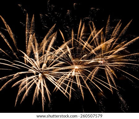 Beautiful fireworks at international competition in Montreal - stock photo