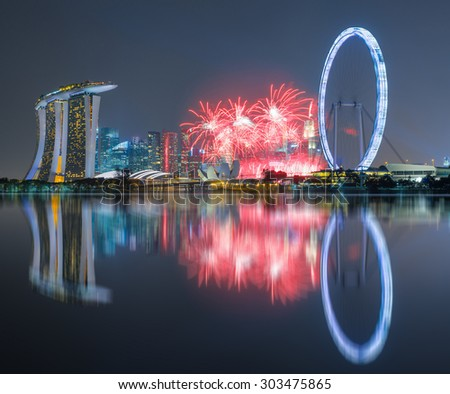 Beautiful fireworks Celebrating Singapore's 50th Birthday in Marina Bay at Singapore - stock photo