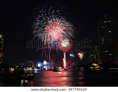 beautiful fireworks countdown celebration on the river, Bangkok