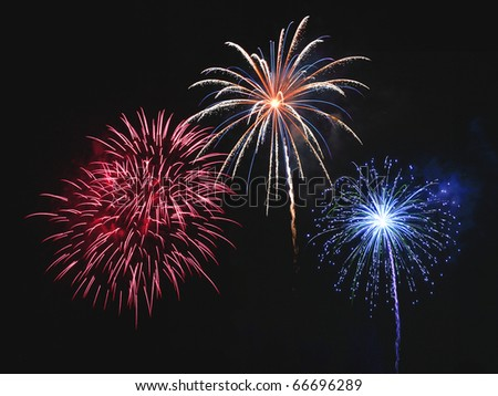 Beautiful fireworks display in the night sky - stock photo