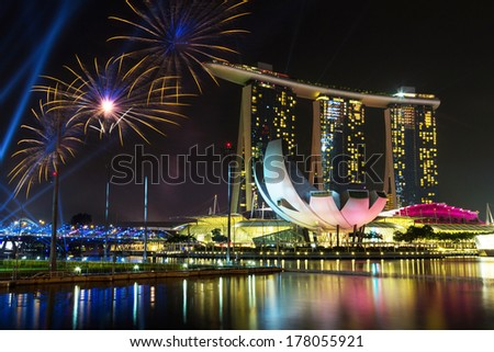 Beautiful fireworks in Marina Bay in Singapore - stock photo