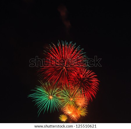 Beautiful Fireworks in the night sky , Thailand - stock photo