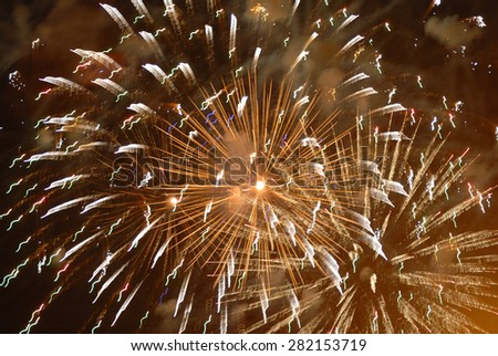 Beautiful fireworks on black sky. Colorful fireworks. Great for Independence Day, New Years Eve or any other celebration.