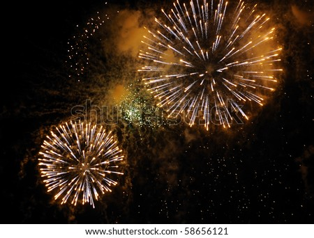 Beautiful fireworks on black sky. Colorful fireworks. Great for Independence Day, New Years Eve or any other celebration. - stock photo