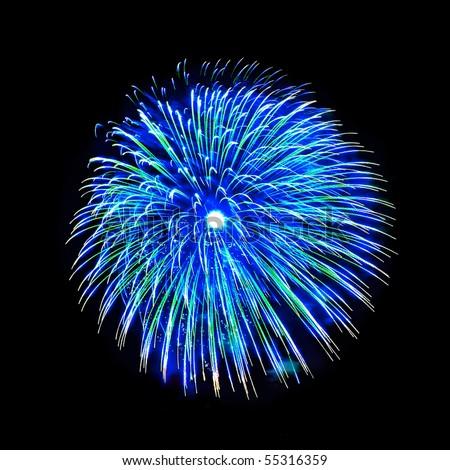 Beautiful fireworks on the black sky background - stock photo