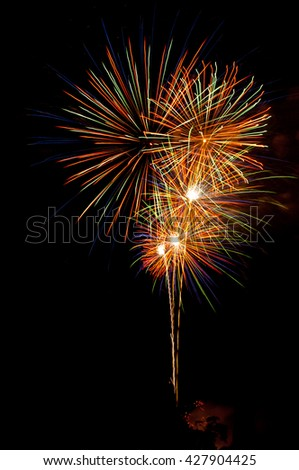 Beautiful Fireworks show at the night sky,happy new year - stock photo