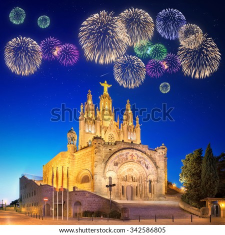 Beautiful fireworks under Amusement Park and Temple at Tibidabo, Barcelona, Spain - stock photo