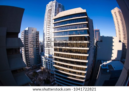 Beautiful fish eyes picture landscape  morning sun at North Sydney high rise building, Sydney, Australia