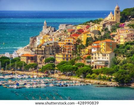 Beautiful fisherman town of Portovenere near Cinque Terre on a sunny summer day, Liguria, Italy - stock photo