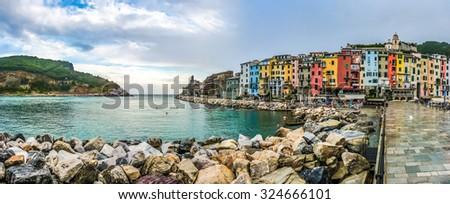 Beautiful fisherman town of Portovenere near Cinque Terre with dramatic cloudscape after rain, Liguria, Italy - stock photo