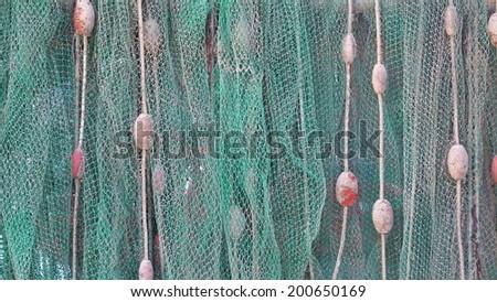 beautiful fishing net horizontally - stock photo