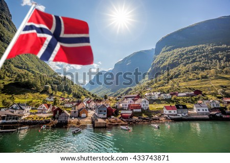 Beautiful Fishing village Undredal against mountain near the Flam in Norway - stock photo