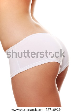 Beautiful fit, sexy female body isolated on white background. - stock photo