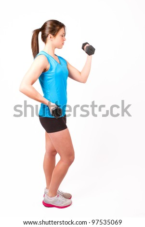 Beautiful, fit woman working out with weights on white background - stock photo