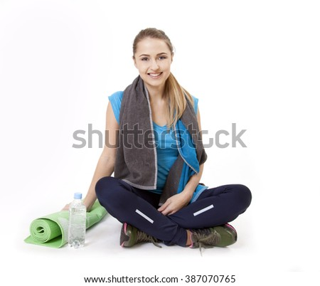 Beautiful fitness yoga woman smile, isolated on white background