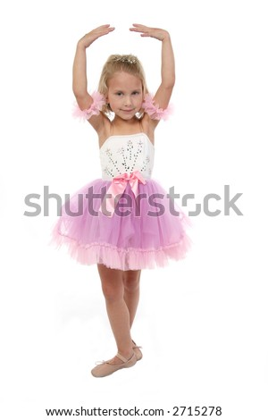 Beautiful five year old girl dressed as ballerina. Full body over white. - stock photo