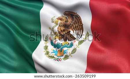 Beautiful flag of Mexico waving in the wind - stock photo