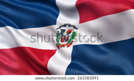 Beautiful flag of the Dominican Republic waving in the wind - stock photo