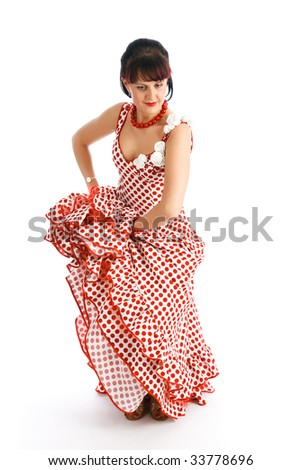 Beautiful flamenco dancer.  Dancing contest, isolated