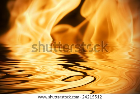 Beautiful flames in fireplace with reflection