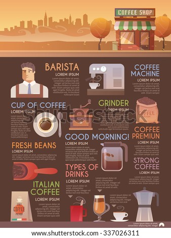 Beautiful flat infographic brochure for your projects. Coffee, cafes, coffee shops, types of beverages. Italian coffee. Barista. The consumption of coffee. Flat design. - stock photo