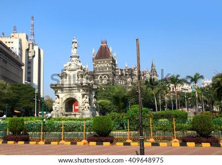 Beautiful Flora fountain in the center of Mumbai city - stock photo