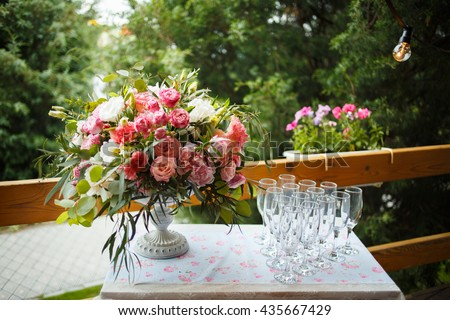 beautiful floral arrangement of pink and white peonies, roses - stock photo