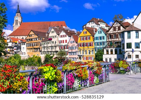 Beautiful floral colorful town Tubingen in Germany (Baden-Wurttemberg)