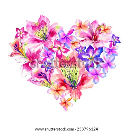 beautiful floral heart valentines day wedding stock illustration, Ideas