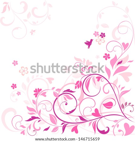 Beautiful floral pink card. Raster copy of vector image - stock photo