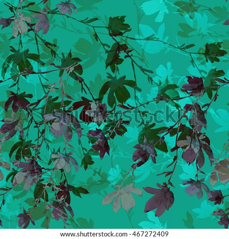 Beautiful floral seamless pattern. From a nature blooming hawthorn branch on a green background