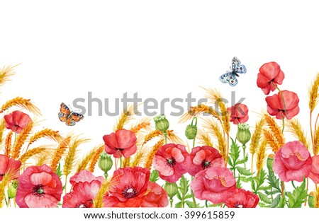beautiful floral seamless pattern,poppies,ears of corn and butterflies .illustration watercolor - stock photo